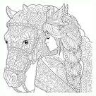 Dibujo para colorear mandala ilustración silueta de una chica acariciando un caballo
