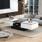 LED Couchtisch Beistelltisch Sofatisch Kaffeetisch mit Stauraum Aufbewahrung Tisch für Wohnzimmer, 102x60x40cm, Weiß