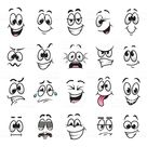Funny cartoon faces expressions detailed vector set