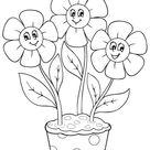 Kleurplaat bloemen in een pot