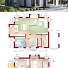 Modernes Haus Design mit Satteldach & Carport bauen, Einfamilienhaus Grundriss 170 qm, Fertighaus