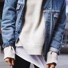 layers. denim jacket. street style.  Sweater Weather   #MichaelLouis - www.MichaelLouis.com