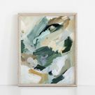 Natural Green and Beige Abstract Painting Modern Wall Art Print or Canvas
