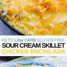 Keto Low Carb Sour Cream Skillet Chicken Enchiladas