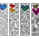 Heart Bookmarks - PDF Coloring Page