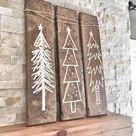 Set von 3 rustikale Holz Weihnachtsbäume, Xmas Holz Baum Dekoration für Die Weihnachtszeit, Weihnachten Urlaub Geschenk und Geschenk, rustikale Weihnachten