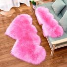 Super Cute Decorative Double Heart Rug   120x60cm / United States / Hot Pink