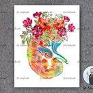 Human Kidney Anatomy Art, Medical Art Print,  Doctor Office Art, Medical Student Gift, Urologist Gift, NephrologIst Gift, Dialysis Tech Gift