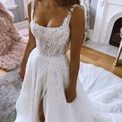Charming Long Elegant Ivory Wedding Dresses Wedding Party Dress   As Picture / US12