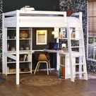 Lit mezzanine ado 2 places avec bureau Cancun  Blanc 140x190 cm/Opt:Bureau en largeur