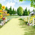 Happy Farm Sunflower Garden View Photography Backdrop S-3104 - 10'W*10'H(3*3m)