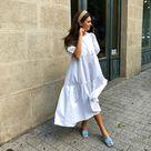 zara puff sleeve white poplin dress on Mercari