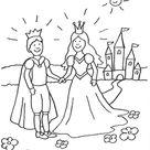 Kostenlose Malvorlage Prinzessin: Prinzessin mit Prinz vor ihrem Märchen-Schloss zum Ausmalen