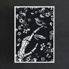Skeleton Hand and Sparrow - Giclée Art Print - Black and White / A3 / 11.69 x 16.53 inch