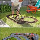 Put a race course for Matchbox cars in your backyard.