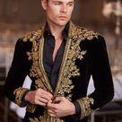 Men Custom Made Designer Black Velvet Gold Heavy Embroidery Jacket Blazer Wedding Prom Party