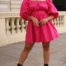 Casual Styling Puff-sleeved Pink Poplin Dress