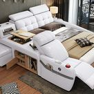 Monica Multifunctional Smart Bed - King Size Bed Set / Special Order Call 702-413-1253 / Bonded Leather/Right Hand Facing