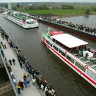 Magdeburg Water Bridge, Germany:  the longest navigable aqueduct in the world