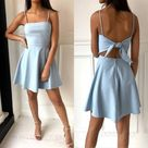 Spaghetti Straps Short Homecoming Dresses with Tie up from dressydances