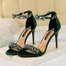 Women 9cm High Heels Crystal Sandals Wedding Bridal Stiletto Heels   Green / 6.5
