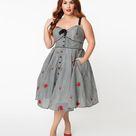 Unique Vintage Plus Size Gingham & Roses Rockie Swing Dress