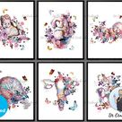 Pregnancy Print Set 6, Baby Shower Decor, Floral Fetus in Womb, Pregnant Woman Gift, Obstetrician Gi
