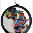 Colors of Africa Earrings   Africa shaped   Natural hair   Afrocentric   jewelry   accessories   Large