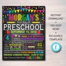 Back to School Chalkboard Sign - Personalized Printable DIY Template - Default Title