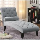 Tufted Chaise with Small Bolster Pillow Grey