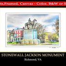 Richmond VA,Stonewall Jackson Monument,Richmond Virginia,Statue,General,Civil War,Confederate,Fine ,Richmond Va Prints,by Dave Lynch,RVA