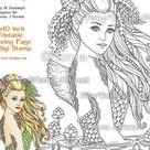 Full Moon Swimming Mermaid  Fairy Tangles Printable Coloring   Etsy