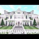 Bloxburg: White Italian Mansion | Exterior Speed Build