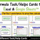 Task/Help Cards Formula Practice   for Google Sheets™ & Excel Spreadsheets