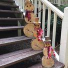 Wood Slice Snowman Set, Christmas Decor