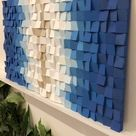 Modern mosaic wood wall art Oceanic is an exellent addition for minimalistic cottagecore decor