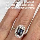 The Adeline emerald cut moissanite + diamond halo engagement ring