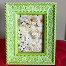 Vintage Ceramic Raised Botanical,  Floral, Beaded 5x7 picture, Rich velvet easel back
