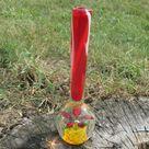 Vintage small Bud Vase Paperweight Presse Papier Flower hand Blown Art Glass