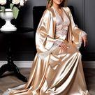 Beige Braut Peignoir Set Lange Nude Kimono Robe und Nachthemd   Etsy