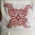 1960s White & Red Peasant Dress with Red Flower Appliques. Bohemian Girls this is for You