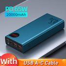 65W Portable Charging Power Bank - 20000mAh Blue / 20000mAh