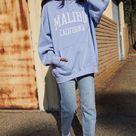 John Galt Womens Malibu Oversized Hoodie - Blue