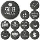 KAFFEEPAUSE Cover Slate Prints-10 x 10 cm Round-Table Coasters-Slip-solid felt coasters