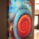 31x38 Textured Abstract Painting Modern ORIGINAL Teal & Red Canvas Fine Art by Maria Farias