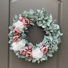 Lambs Ear Wreath, Spring Wreaths for Front Door, Mothers Day Gift, Peony Wreath for Spring, Spring Wreath, Baby Girl Wreath, Floral Wreath