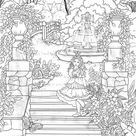 Magic Garden  Printable Adult Coloring Page from Favoreads   Etsy