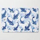 Koi Fish Dance / blue watercolor Cutting Board by marketastengl