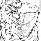 Printable Tyrannosaurus And Triceratops Coloring Pages Sheets - ColoringBase