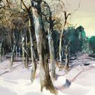 Nachtpools- Archival print of painting of swimming pools in winter forest